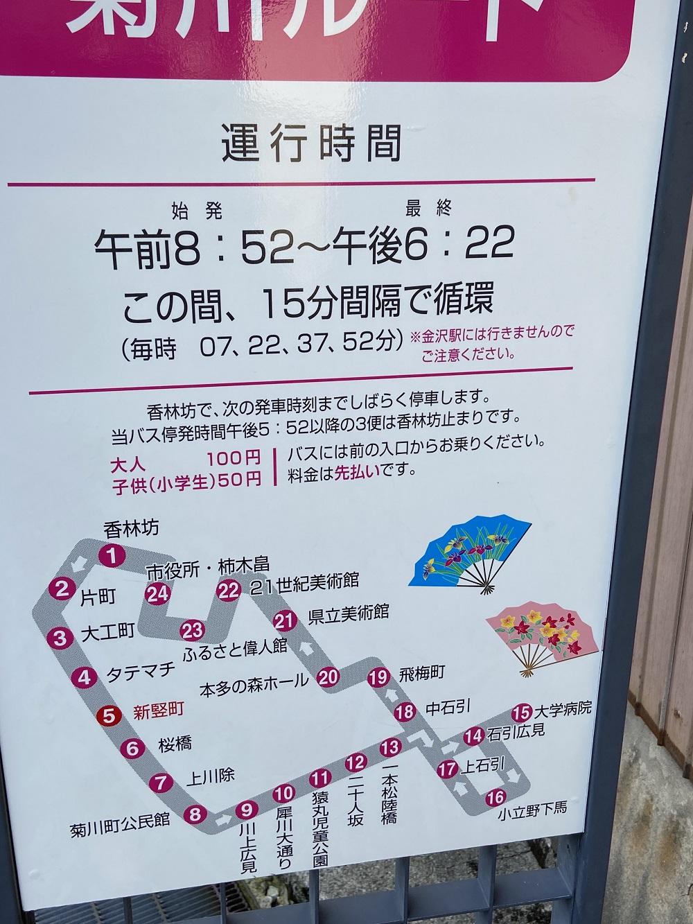 金沢ふらっとバス菊川ルート新竪町バス停